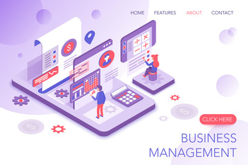 Financial management, corporate statistics, business marketing modern 3d isometric vector website landing page template. People interacting with virtual screen charts and analyzing statistics.