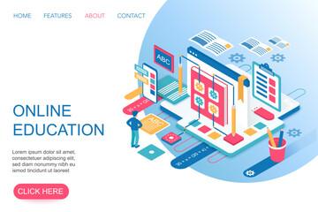 Online Education, training courses, internet university specialization 3d isometric landing website page template vector illustration.