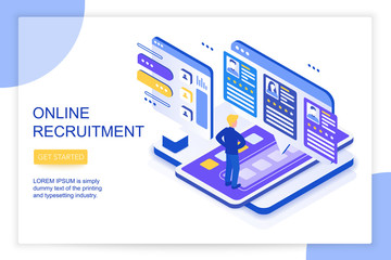 Online job searching and recruitment, human resource concept. We are hiring. 3d isometric landing website page template vector illustration.