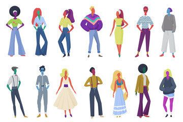 Group of minimalistic abstract retro fashion people wearing vintage clothes. Men and women in 60s, 70s 80s style clothing at retro disco party vector illustration.