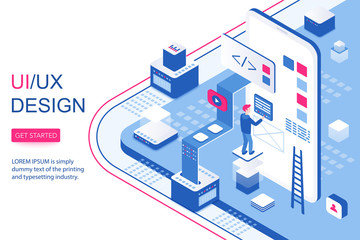 UI UX design infographic concept. Mobile app software and visual content 3d isometric landing website page template vector illustration.