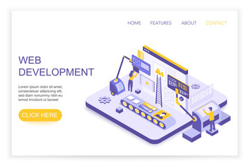 Web development and design infographics. Desktop website and mobile website concept with people 3d isometric landing website page template vector illustration.