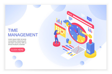 Time management, working time organization and planning concept with people 3d isometric landing website page template vector illustration.