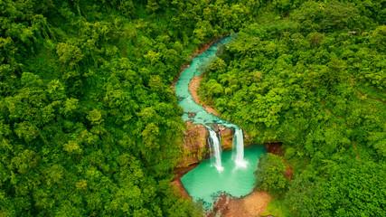 Beautiful aerial view of Cikaso waterfall in Sukabumi