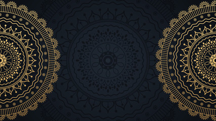 Mandala template illustration with place for text. Golden flowers background