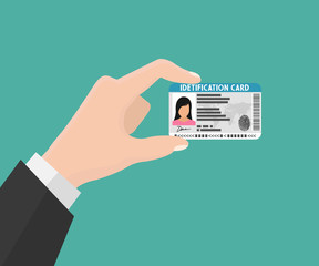 Illustration of hand holding the id card. Vector illustration flat design. The idea of personal identity.