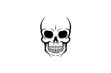 Creative Skeleton Skull Logo Design Illustration
