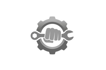Creative Fist Mechanic Wrench Gear Logo