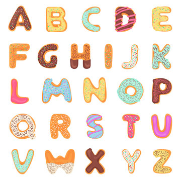 Set of delicious, sweet, like donuts, glazed, chocolate, yummy, tasty, shaped alphabet font letters isolated on white background. Colorful vector illustration.
