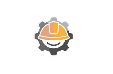 Creative Yellow Hardhat Construction helmet Logo Design Illustration