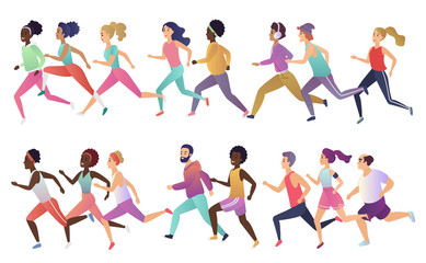 Group of isolated happy smiling healthy strong young fit multiethnic running men and women wearing stylish sports clothes. Active lifestyle promotion vector illustration.