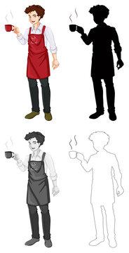 Set of barista character