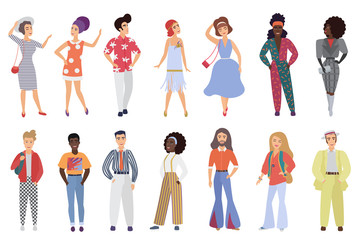 Set of young men and women wearing retro disco party clothes in 60s, 70s 80s style isolated on white background vector illustration.
