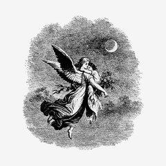 Vintage angel with a child illustration