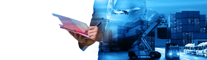 Wall Mural - Double exposure of Businessman in a suit signing or writing a document in front Industrial Container Cargo freight ship for Business Insustrail Logistic Import Export concept