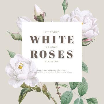 White roses inspirational card design