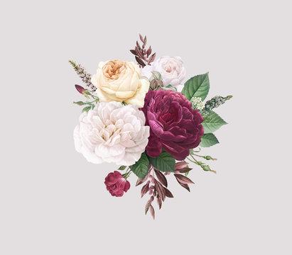 Vintage colorful flowers design vector