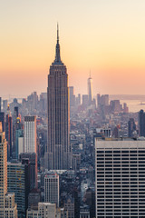 Fototapete - New York City Skyline with Urban Skyscrapers at Sunset, USA