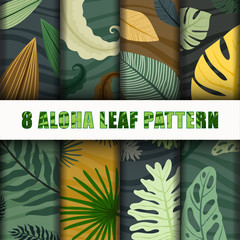8 Aloha leaf Pattern Background Set collection