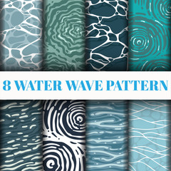 8 Water Wave Pattern Background Set Collection