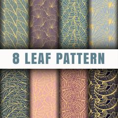 8 Leaf outline pattern background collection