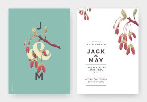 Minimalist botanical wedding invitation card template design, Red maple seeds with lettering on blue, pastel vintage theme