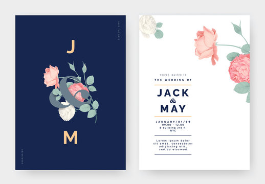 Minimalist botanical wedding invitation card template design, pink and white roses with lettering on dark blue, pastel vintage theme