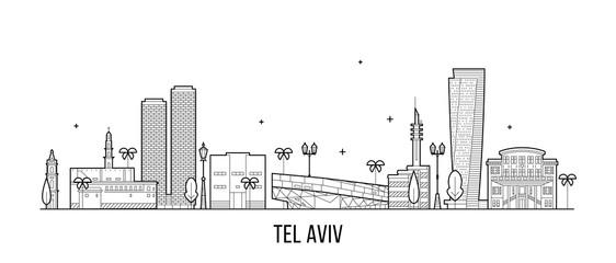Tel Aviv skyline Israel buildings vector linear