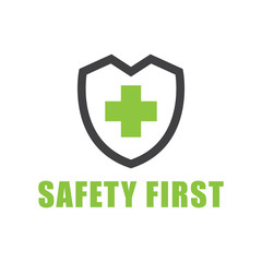 Green color Safety first text symbol on white
