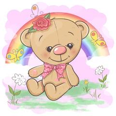 Keuken foto achterwand Sprookjeswereld Postcard cute bear on the background of the rainbow and balloon. Cartoon style. Vector