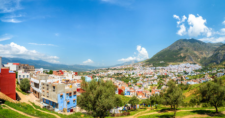 Wall Mural - Panorama of Chefchaouen blue city, Morocco, North Africa