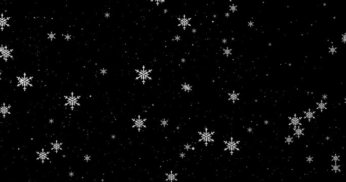 White snowflakes on the black Christmas background. 3D render image