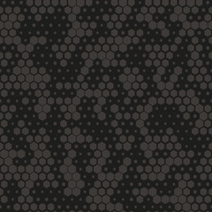 Camouflage pattern background seamless vector illustration. Gray and black abstract geometric background. Seamless pattern with hexagon element vector illustration.