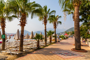 Beautiful promenade with palm trees in Marmaris. Turkey.