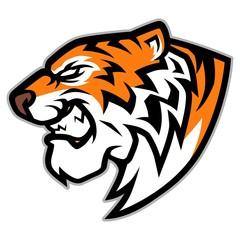 Roaring Tiger Head Mascot Illustration Vector