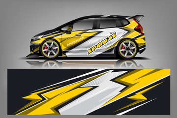 Sport Car wrap design vector, truck and cargo van decal. Graphic abstract stripe racing background designs for vehicle, rally, race, advertisement, adventure and livery car. - Vector
