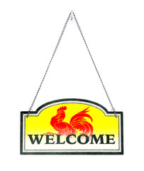 Wallonia welcomes you! Old metal sign isolated