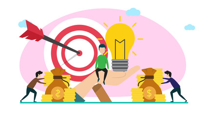 business investor creative illustration vector of graphic , small people business investor illustration vector , business investor online vector , vector flat illustration