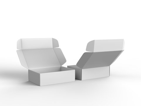 Blank shipping mailer hard cardboard box for branding and mock up. 3d render illustration.