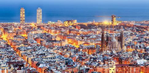 Aluminium Prints Barcelona Panorama of Barcelona at dawn
