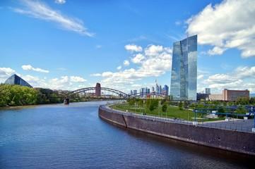 European Central Bank and Skyline of Frankfurt. European Central Bank (ECB) in Frankfurt with skyline and view over the Main