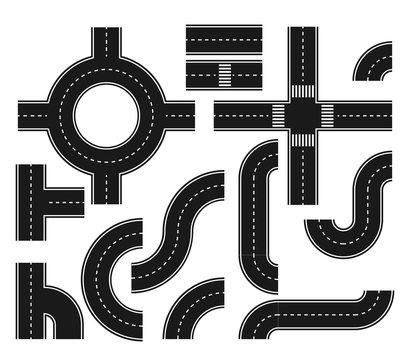Asphalt roads design elements for city map