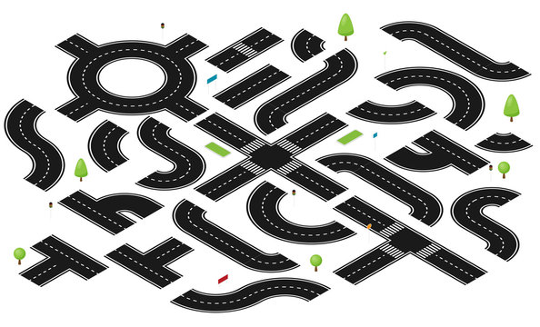 Isometric road and highway vector elements for city map creation.