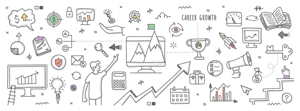 Career growth in doodle illustration