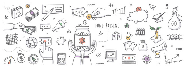 Doodle illustration of fundraising