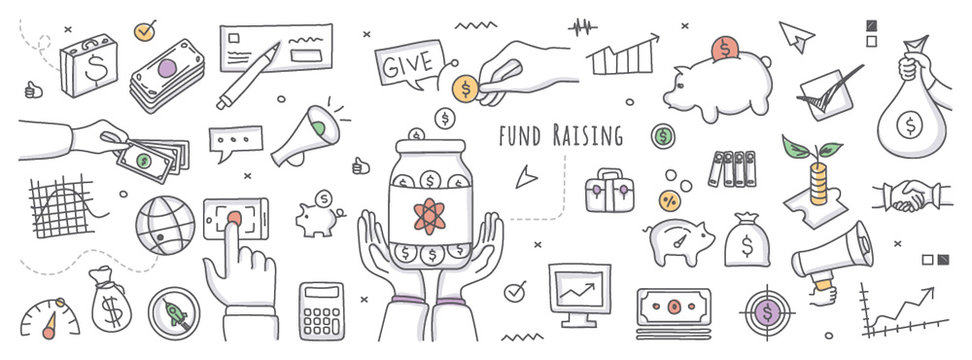 Doodle illustration of fundraising