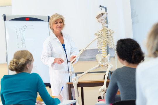 teacher and skeleton for classroom education