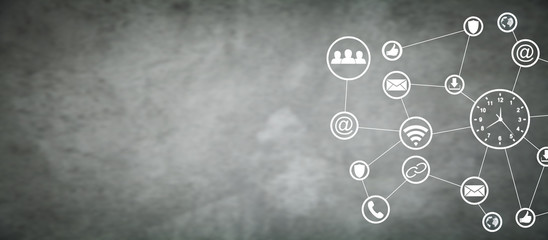 Time management. Social network. Business concept