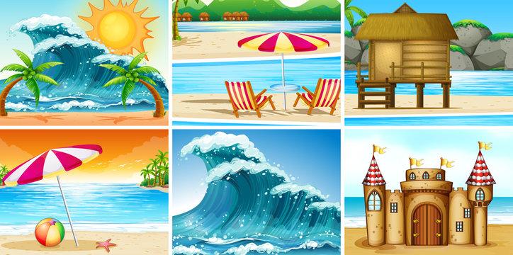 Set of beach landscape