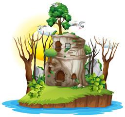 Wall Mural - A fantasy house on island